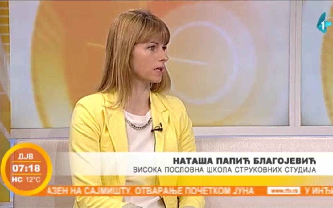 Kako do posla? Gostovanje dr Nataše Papić – Blagojević u Jutarnjem programu RTV